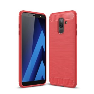 Θήκη SAMSUNG Galaxy A6 Plus (2018) OEM Brushed TPU Carbon Πλάτη κόκκινο