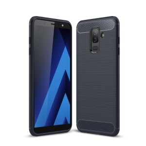 Θήκη SAMSUNG Galaxy A6 Plus (2018) OEM Brushed TPU Carbon Πλάτη μπλε