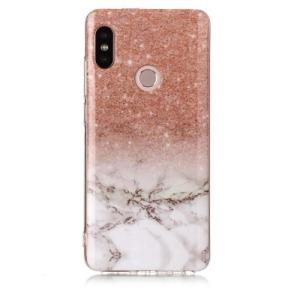 Θήκη XIAOMI Redmi Note 5 OEM σχέδιο Marble Orange / White Πλάτη TPU