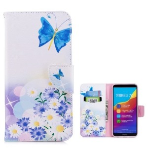 Θήκη HUAWEI Y7 Prime (2018) OEM σχέδιο Butterfly in the flowers με βάση στήριξης