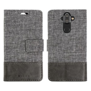 Θήκη NOKIA 8 Sirocco MUXMA Leather & Canvas with Stand Flip Wallet δερματίνη γκρι