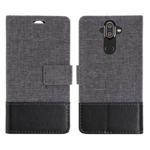 Θήκη NOKIA 8 Sirocco MUXMA Leather & Canvas with Stand Flip Wallet δερματίνη μαύρο