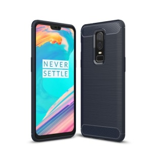 Θήκη OnePlus 6 OEM Brushed TPU Carbon Πλάτη TPU μπλε