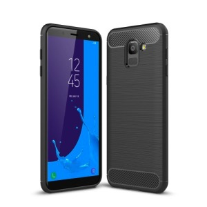 Θήκη SAMSUNG Galaxy J6 (2018) OEM Brushed TPU Carbon Πλάτη TPU μαύρο