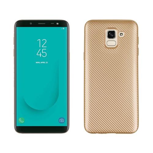 Θήκη SAMSUNG Galaxy J6 (2018) OEM Carbon Fiber Texture Πλάτη TPU χρυσό