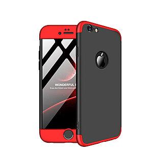 Θήκη GKK Full body Protection 360° από σκληρό πλαστικό για iPhone 6 / 6s μαύρο / κόκκινο
