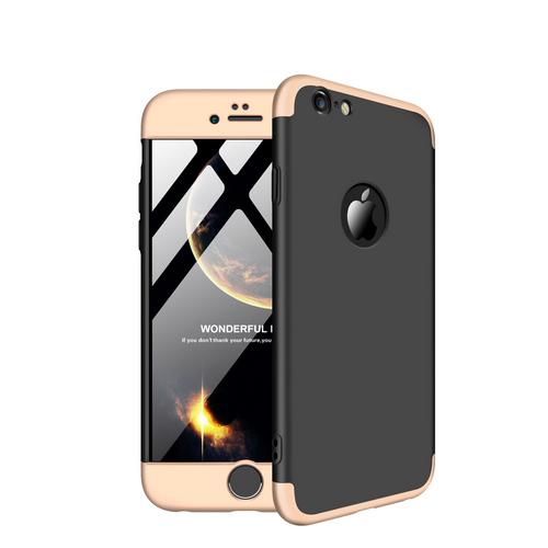 Θήκη iPhone 6 / 6s GKK Full body Protection 360° από σκληρό πλαστικό μαύρο / χρυσό