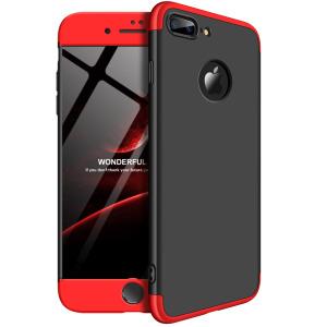 Θήκη GKK Full body Protection 360° από σκληρό πλαστικό για iPhone 7 Plus μαύρο / κόκκινο