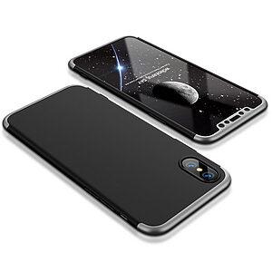 Θήκη GKK Full body Protection 360° από σκληρό πλαστικό για iPhone X μαύρο / ασημί