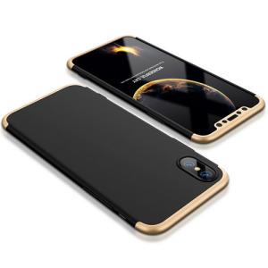 Θήκη GKK Full body Protection 360° από σκληρό πλαστικό για iPhone X μαύρο / χρυσό