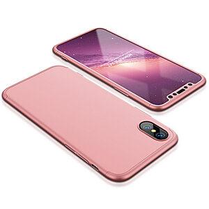 Θήκη GKK Full body Protection 360° από σκληρό πλαστικό για iPhone X ροζ χρυσό