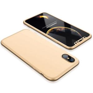 Θήκη GKK Full body Protection 360° από σκληρό πλαστικό για iPhone X χρυσό