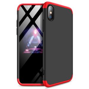 Θήκη GKK Full body Protection 360° από σκληρό πλαστικό για iPhone Xs μαύρο / κόκκινο