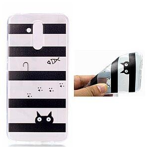 Θήκη Huawei Mate 20 Lite OEM σχέδιο Cartoon Cat & Stripes πλάτη TPU