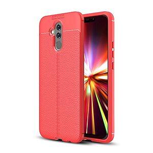 Θήκη Huawei Mate 20 Lite OEM Focus Litchi Skin Series πλάτη TPU κόκκινο