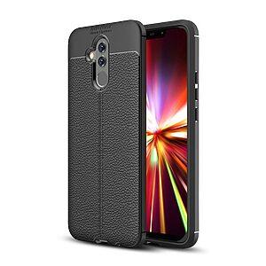 Θήκη Huawei Mate 20 Lite OEM Focus Litchi Skin Series πλάτη TPU μαύρο