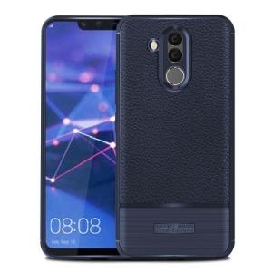 Θήκη Huawei Mate 20 Lite OEM Ragged Armor Litchi Skin Series πλάτη TPU μπλε