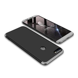 Θήκη GKK Full body Protection 360° από σκληρό πλαστικό για Huawei Honor 7C / Y7 Prime (2018) μαύρο / ασημί