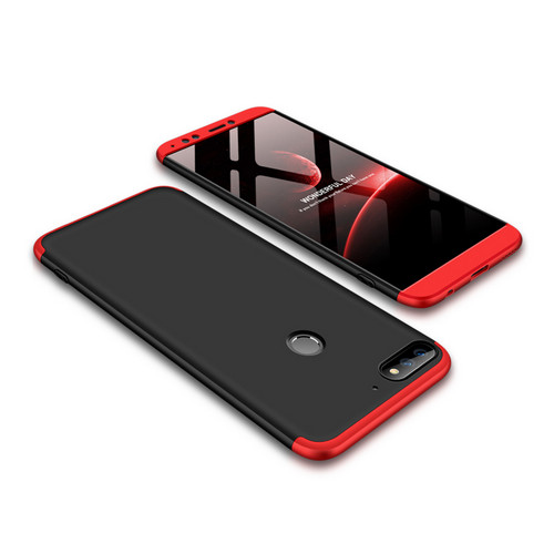 Θήκη GKK Full body Protection 360° από σκληρό πλαστικό για Huawei Honor 7C / Y7 Prime (2018) μαύρο / κόκκινο