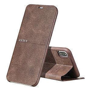 Θήκη iPhone XS Max X-LEVEL Extreme Series Leather με βάση στήριξης flip wallet δερματίνη καφέ