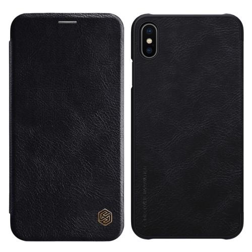 Θήκη iPhone XS Max NiLLkin Qin Series με υποδοχή για κάρτες flip wallet δερματίνη μαύρο
