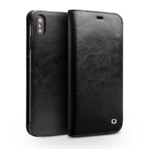 Θήκη iPhone XS Max QIALINO Genuine Cowhide Leather flip wallet δερμάτινη μαύρο