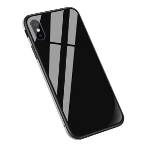 Θήκη iPhone XS Max Sulada Tempered Glass Hybrid Metal Series πλάτη TPU μαύρο / ασημί