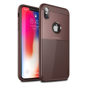 Θήκη iPhone XS Max IPAKY Grid Hybrid Series πλάτη TPU καφέ