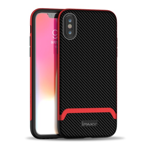 Θήκη iPhone XS Max IPAKY Two Piece Hybrid Carbon Fiber πλάτη TPU κόκκινο