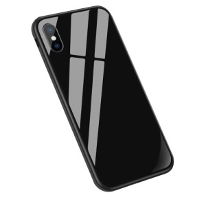 Θήκη iPhone XS Max Sulada Tempered Glass Hybrid Metal Series πλάτη TPU μαύρο