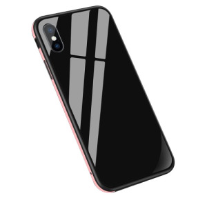 Θήκη iPhone XS Max Sulada Tempered Glass Hybrid Metal Series πλάτη TPU μαύρο / ροζ