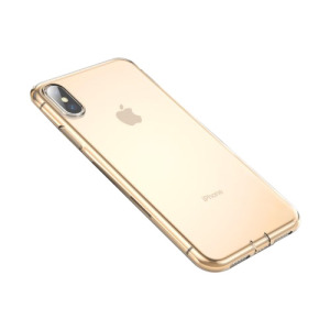 Θήκη iPhone XS Max BASEUS Simplicity Series TPU with Dust Plug πλάτη TPU χρυσό / διάφανο