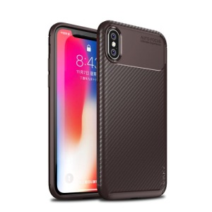 Θήκη iPhone XS IPAKY Airbag Carbon Series πλάτη TPU καφέ