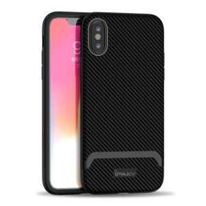 Θήκη iPhone XS IPAKY Two Piece Hybrid Carbon Fiber πλάτη TPU μαύρο