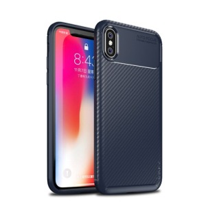 Θήκη iPhone XS IPAKY Airbag Carbon Series πλάτη TPU μπλε