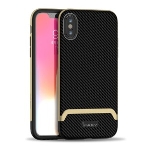 Θήκη iPhone XS IPAKY Two Piece Hybrid Carbon Fiber πλάτη TPU μαύρο / χρυσό