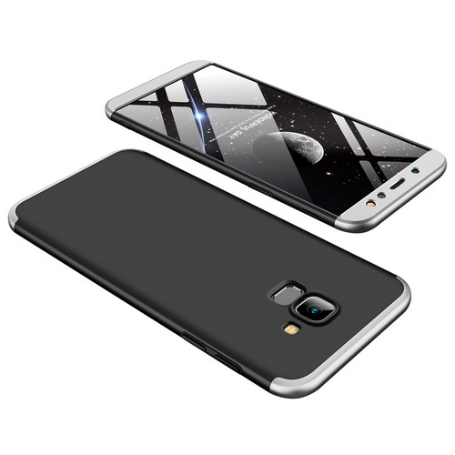 Θήκη GKK Full body Protection 360° από σκληρό πλαστικό για Samsung Galaxy A6 (2018) μαύρο / ασημί