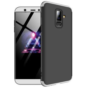 Θήκη GKK Full body Protection 360° από σκληρό πλαστικό για Samsung Galaxy A6 Plus (2018) μαύρο / ασημί