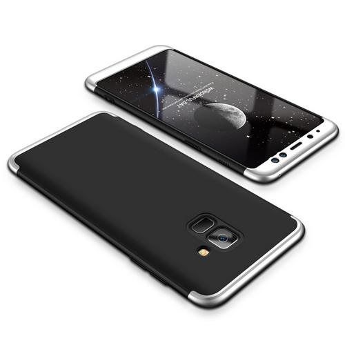 Θήκη GKK Full body Protection 360° από σκληρό πλαστικό για Samsung Galaxy A8 (2018) μαύρο / ασημί
