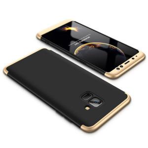 Θήκη GKK Full body Protection 360° από σκληρό πλαστικό για Samsung Galaxy A8 (2018) μαύρο / χρυσό