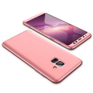 Θήκη GKK Full body Protection 360° από σκληρό πλαστικό για Samsung Galaxy A8 (2018) ροζ χρυσό