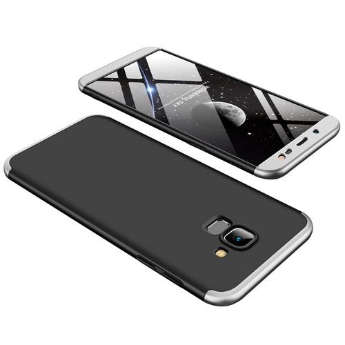 Θήκη GKK Full body Protection 360° από σκληρό πλαστικό για Samsung Galaxy J6 (2018) μαύρο / ασημί