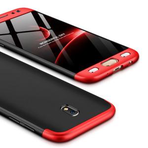 Θήκη GKK Full body Protection 360° από σκληρό πλαστικό για Samsung Galaxy J7 (2017) μαύρο / κόκκινο