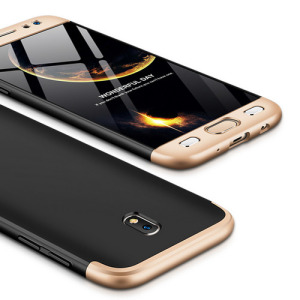 Θήκη GKK Full body Protection 360° από σκληρό πλαστικό για Samsung Galaxy J7 (2017) μαύρο / χρυσό