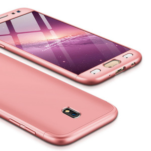 Θήκη GKK Full body Protection 360° από σκληρό πλαστικό για Samsung Galaxy J7 (2017) ροζ χρυσό