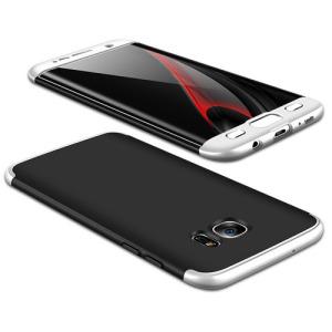 Θήκη GKK Full body Protection 360° από σκληρό πλαστικό για Samsung Galaxy S7 Edge μαύρο / ασημί
