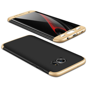 Θήκη GKK Full body Protection 360° από σκληρό πλαστικό για Samsung Galaxy S7 Edge μαύρο / χρυσό