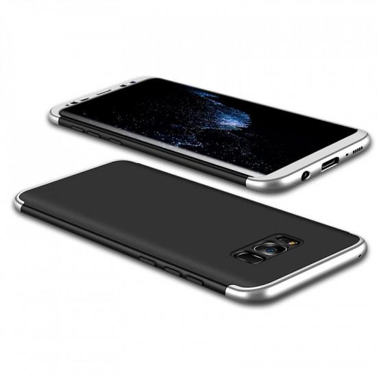 Θήκη Galaxy S8 GKK Full body Protection 360° από σκληρό πλαστικό μαύρο / ασημί