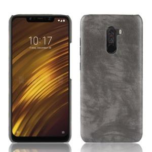 Θήκη Xiaomi Pocophone F1 OEM Litchi Skin Leather Plastic Series πλάτη από σκληρό πλαστικό με επένδυση δερματίνης γκρι