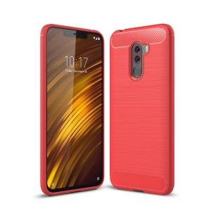 Θήκη Xiaomi Pocophone F1 OEM Brushed TPU Carbon πλάτη TPU κόκκινο